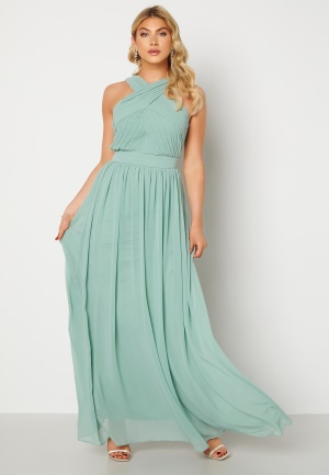 Goddiva Cross Front Chiffon Maxi Dress Sage Green L (UK14)