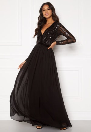 Goddiva Deep V Sequin Maxi Dress Black M (UK12)