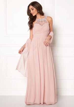 Image of Goddiva Embellished Chiffon Maxi Nude XL (UK16)