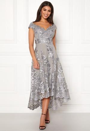 Goddiva Embroidered Lace Dress Silver XS (UK8)