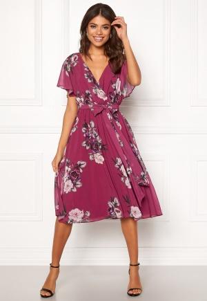 Image of Goddiva Floral Flutter Midi Dress Berry XS (UK8)