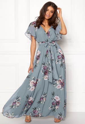 Goddiva Floral Sleeve Maxi Dress Air Force Blue M (UK12)