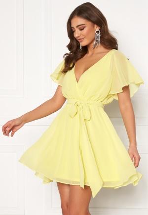 Goddiva Flutter Skater Dress Soft Lemon L (UK14)