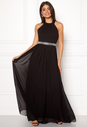 Goddiva Halterneck Chiffon Dress black XS (UK8)