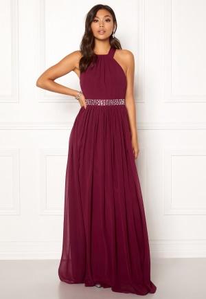 Image of Goddiva Halterneck Chiffon Maxi Dress Berry XS (UK8)
