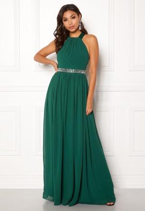 Image of Goddiva Halterneck Chiffon Maxi Dress Green XS (UK8)