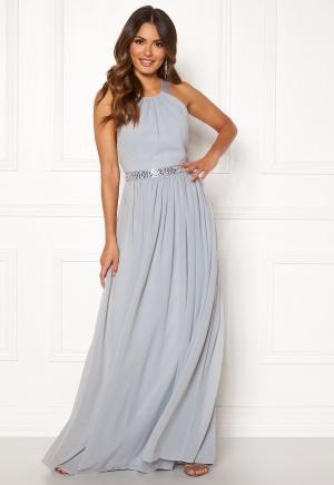 Image of Goddiva Halterneck Chiffon Maxi Dress Grey XS (UK8)