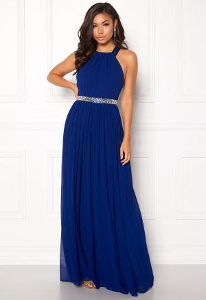 Goddiva Halterneck Chiffon Maxi Dress Royal L (UK14)