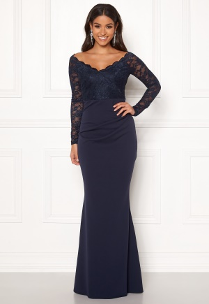 Goddiva Lace Trim Maxi Dress Navy XXL (UK18)