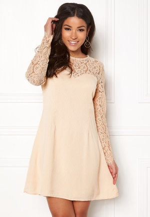 Image of Goddiva Lace Trim Skater Dress Nude XL (UK16)
