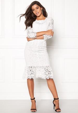 Goddiva Long Sleeve Lace Dress White M (UK12)