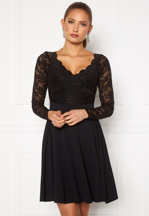 Goddiva Long Sleeve Lace Skater Dress Black XL (UK16)
