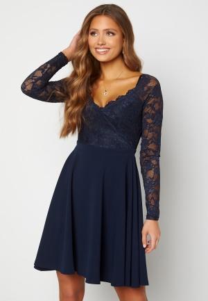 Goddiva Long Sleeve Lace Skater Dress Navy XL (UK16)