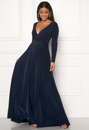 Goddiva Long Sleeve Oscar Dress Navy XS (UK8)