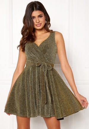 Goddiva Lurex Skater Dress Gold S (UK10)