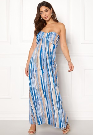 Image of Goddiva Resort Bandeau Maxi Dress Blue Multi XL (UK16)