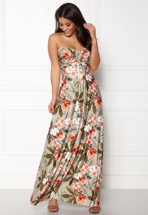 Goddiva Resort Bandeau Maxi Dress Tropical Print XS (UK8)