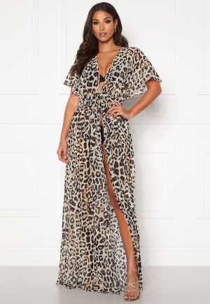 Goddiva Resort Chiffon Maxi Kaftan Animal Print L (UK14)