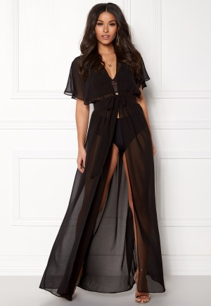 Goddiva Resort Chiffon Maxi Kaftan Black M (UK12)