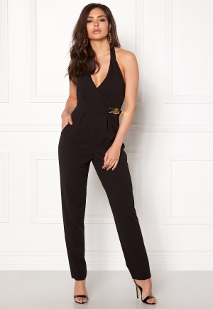 Goddiva Resort Gold Buckle Jumpsuit Black XL (UK16)