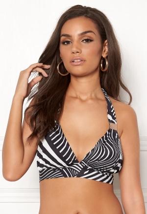 Goddiva Resort Halterneck Bikini Top Abstract Stripe XS