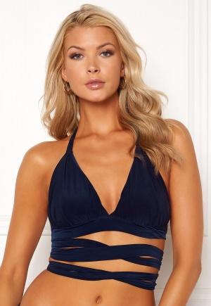 Goddiva Resort Rae Cross Bikini Top Navy M