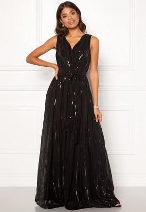 Image of Goddiva Sequin Chiffon Maxi Dress Black S (UK10)