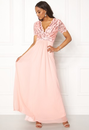 Image of Goddiva Sequin Chiffon Maxi Dress Nude XS (UK8)