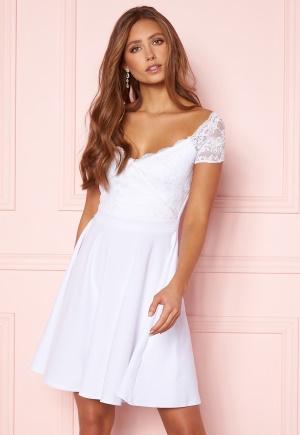 Goddiva Short Sleeve Lace Trim Skater Dress White L (UK14)