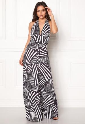 Goddiva Resort Halter Neck Maxi Dress Abstract Stripe XXL (UK18)