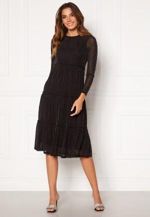 Happy Holly Emilia Glitter flounce dress Black / Silver 32/34
