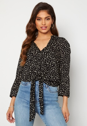 Happy Holly Juliette ss knot shirt Black / Offwhite 48/50