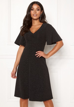 Happy Holly Olivia lurex dress Black / Silver 32/34