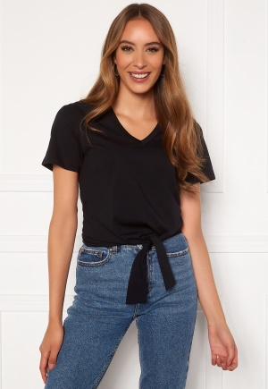 Image of Happy Holly Tove knot v-neck top Black 44/46