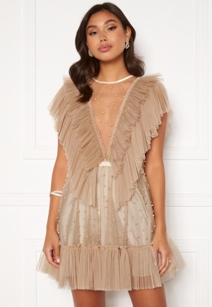 Ida Sjöstedt Nathalie Dress Beaded Tulle Sand 38