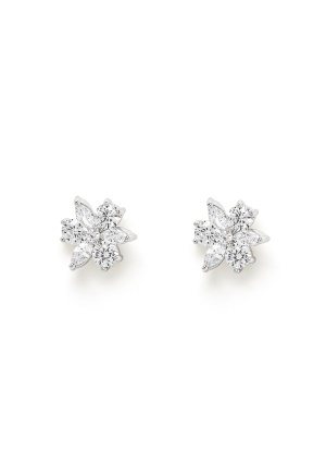 Ivory & Co Waterlily Earrings Silver Crystal One size