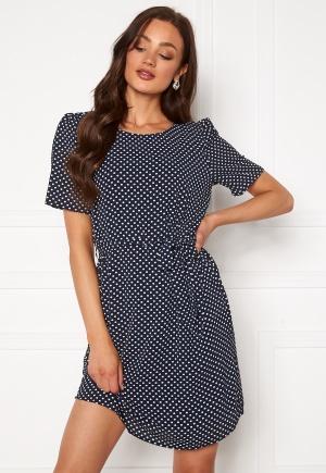 Jacqueline de Yong Amanda S/S Puff Dress Sky Captain AOP Dots 34