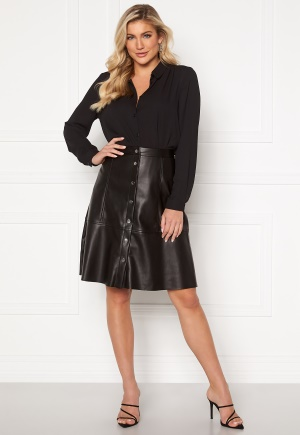Jacqueline de Yong Hill Button PU Skirt Black 34