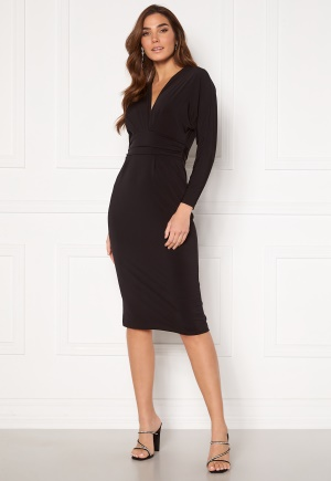 John Zack Deep V Batwing Sleeve Midi Dress Black L (UK14)