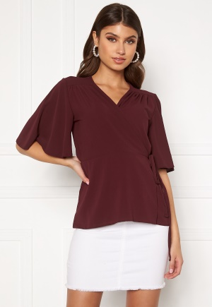 John Zack Flared Sleeve Wrap Blouse Wine XS (UK8)