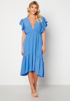 Image of John Zack Frill Sleeve V Neck Midaxi Dress Blue L (UK14)