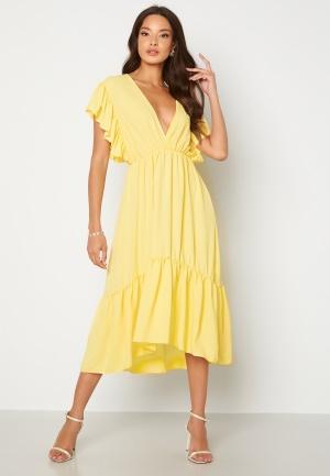 Image of John Zack Frill Sleeve V Neck Midaxi Dress Lemon XXL (UK18)
