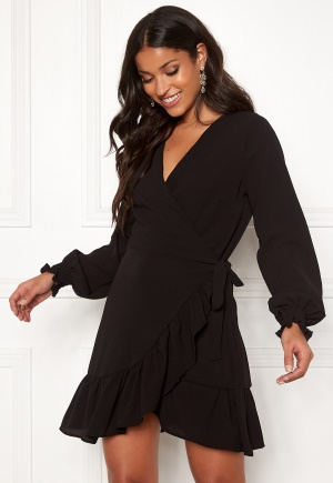 Image of John Zack Frilly Wrap Mini Dress Black S (UK10)