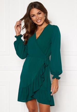 Image of John Zack Frilly Wrap Mini Dress Forest Green XL (UK16)