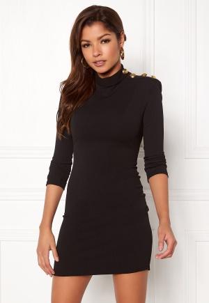John Zack Gold Button Bodycon Dress Black L (UK14)