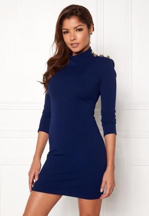 John Zack Gold Button Bodycon Dress Royal Blue L (UK14)