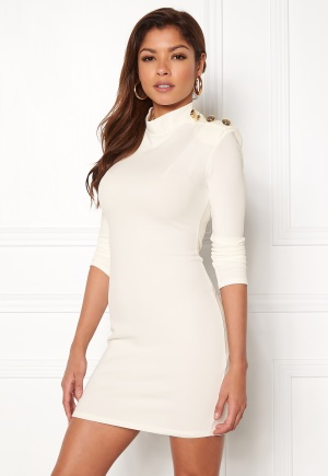 John Zack Gold Button Bodycon Dress White L (UK14)