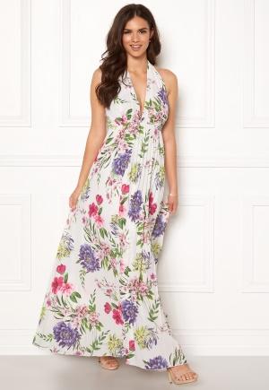 John Zack Halterneck Pleated Dress White Floral XS (UK8)