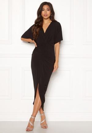 John Zack Kimono Sleeve Rouch Dress Black M (UK12)