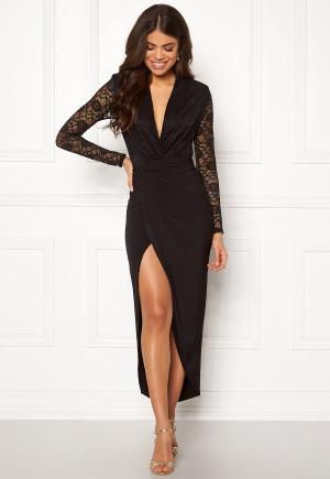 John Zack Lace Bodice Rouch Dress Black XL (UK16)